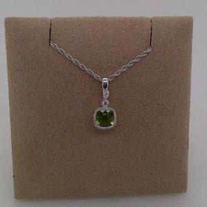 Jewelry - 14K White Gold Peridot & Diamond Pendant